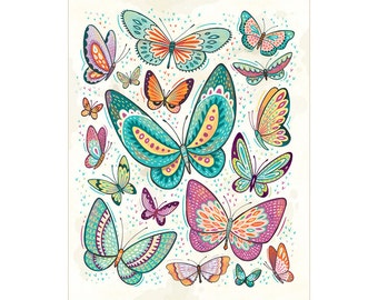 Butterfly Art: Colorful butterfly illustration archival print