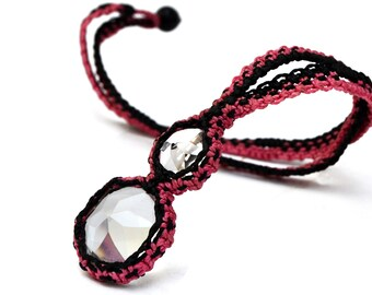 Pink Black Necklace, Macrame Necklace, Boho Necklace, Crystal Necklace, Long Necklace, Gemstone Necklace Micro Macrame Textile Jewelry