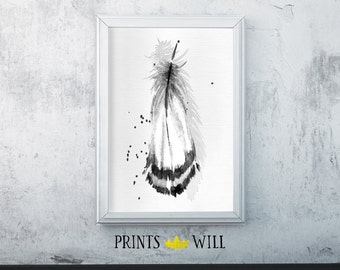 Feather Decor, Feather Wall Decor, Feather Print, Black White Feather, Feather Art, Feather Fine Art, Black White Art, Black White Decor