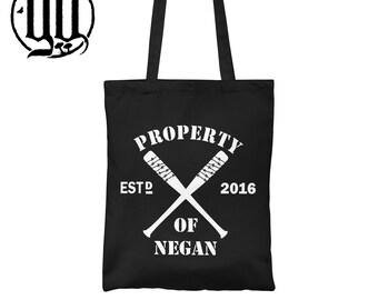Property of Negan Tote Bag - White on Black