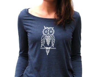 Next Level Long Sleeve Scoop Neck - Tshirt Owl Design - Owl Print - Womens Long Sleeve Top - S, M, L, Xl and XXl