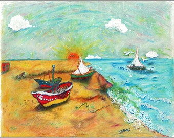 "On-Shore Boats - 14""x11"""