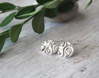 Shiny Silver Swirl Earrings - .999 Silver Swirl Circle Dangle Earrings - Sterling Silver Ear Wires
