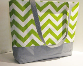 Chevron Tote bag . Chartreuse White and gray . Chevron beach bag . great bridesmaid  or Christmas gift MONOGRAMMING Available