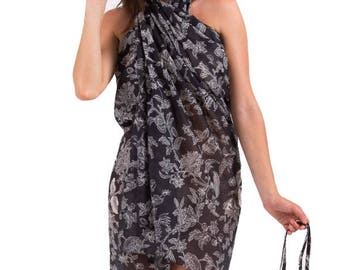 Spirituelle Cotton Beach Sarong with Matching Carry Bag - Midnight Bloom