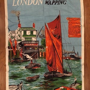 Vintage London Wapping Irish Linen Towel/Wall Hanging By Lamont