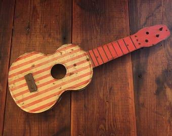 Vintage Toy Guitar Red White Cream Metal Tin Wood Americana America Folk Art Music Decor Rock n Roll Record Store