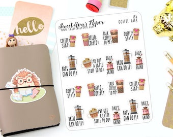 Coffee Talk Planner Stickers - Coffee Stickers - Adulting Stickers - Word Art Stickers - Quote Stickers - 135
