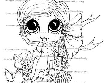 INSTANT DOWNLOAD Digital Digi Stamps Big Eye Big Head Dolls Digi  My - Besties  IMG802 With Kitty By Sherri Baldy