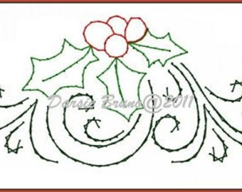 Holly Sprig Christmas  Embroidery Pattern for Greeting Cards