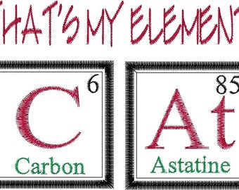 CAT Periodic Table Embroidery Design - Cat embroidery Design