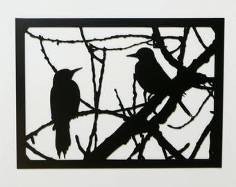 """Birds - Metal Wall Art - 23.4"""" Wide x 17"""" Tall - With Hanger - Birds in Tree Branches #1 - (DD103---)"""