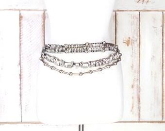 Vintage white leather silver metal link chain beaded statement belt/metal tribal belt/boho/hippie festival belt