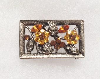"Feminine little orange yellow clear rhinestone pin antiqued silver setting 1"""