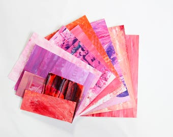 Hand Painted Scrap Paper Pack - assorted weight papers for scrapbooking/card making/collage/journaling - pink