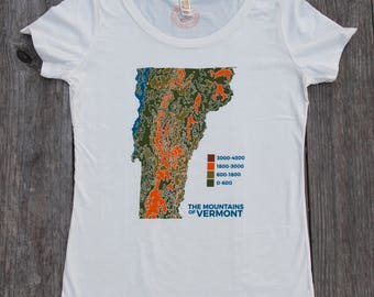 USA made Vermont Topo Map shirt screen printed tee womens shirt