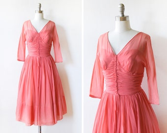 50s party dress, vintage 1950s chiffon dress, coral pink cocktail dress, bridesmaid prom dress, small