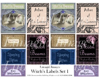 WITCHES LABELS digital collage sheet, Vintage Ephemera Tags, apothecary potions spells alchemy, Gothic spooky Halloween altered art DOWNLOAD