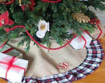 Plaid Burlap Monogram Christmas Tree Skirt - Christmas Tree Skirt - Personalized Tree Skirt - Monogrammed Holiday Decor - Burlap Tree Skirt