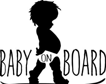 Baby on Board Snowboarder vinyl decal