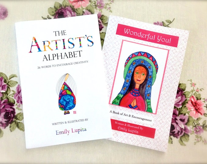 Book Collection / Artist's Alphabet and Wonderful You / Children's Books / Learning Teaching Letters / Inspirational Quotes / Creativity
