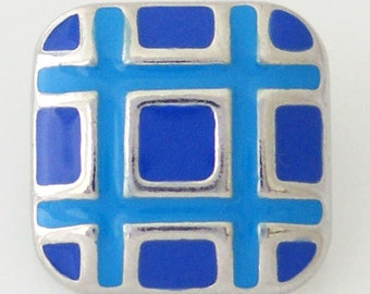 1 PC 18MM Blue Enamel Silver Snap Candy Charm kb8119 CC0867