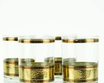 vintage lowball glasses, set of four, gold and copper detail, old fashioned