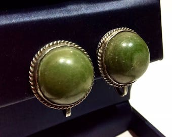 MEXICO MALACHITE & STERLING silver large vintage earrings