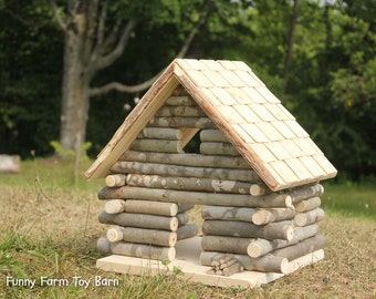 Log Cabin Dollhouse Natural Waldorf Custom Sized Girl's Doll House Rustic