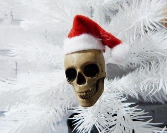 Santa Hat Skulls, Skull Baubles, Christmas Skulls, Skull Decorations, Skull Christmas decorations, Christmas Skull Baubles
