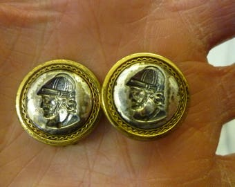 J65 Vintage Gladiator Head Two Tone Clip-on Earrings.