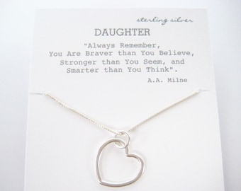 Open Heart Necklace Sterling Silver, Daughter Gift, Gift for Daughter, Graduation for Daughter, Mother Daughter Jewelry