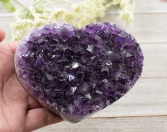 4 inch Amethyst Heart Cluster With Deep Rich Purple Colors - Uruguay