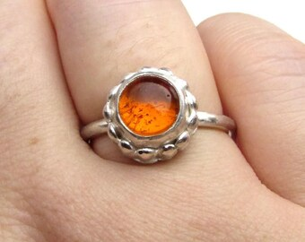 Natural Amber Ring - Sterling Silver Ring - Silver Amber Ring - Stacking Silver Ring -  Modern Amber Ring - Ready to Ship - Ring Size 8.5