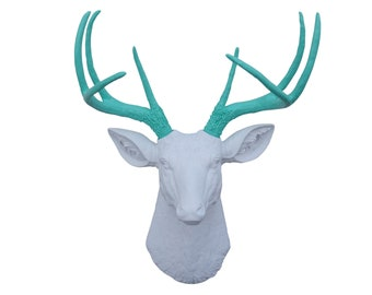 Faux Taxidermy - White Faux Deer Head With Aqua Antlers - 8 Point Wall Decor- Fake Taxidermy Wall Mount D0163