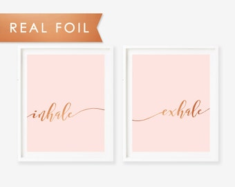 Inhale Exhale Art Print - Real Copper Foil - Yoga Breathe Inspirational Wall Decor