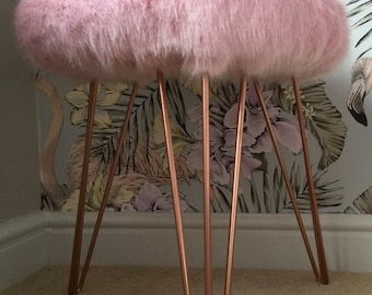 Faux Fur Stool with Hairpin Legs