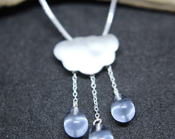 Cloud necklace from 925 sterling silver cloud with rain with aquamarine