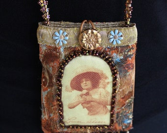 """Handmade Beaded Neck Purse or """"Usable Jewelry"""" - Small"""