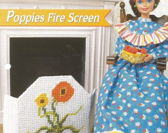 Poppies Fire Screen, Plastic Canvas, Annies Fashion Doll, Doll Furniture, Vintage 1996, Leaflet FP13-01, Sewing Pattern, Sewing Supplies