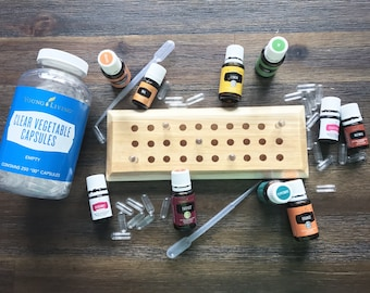 Size '00' Capsule/Pill Holder/Stand for easy filling of essential oils, Young Living, Doterra. Made with pine wood, holds 30 capsules!
