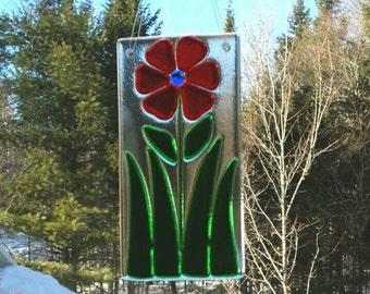 Red Flower Suncatcher, Flower Suncatcher, Fused Glass Suncatcher, Stained Glass Flower, Flower Window Hanging, Kiln Fired Glass,  F136