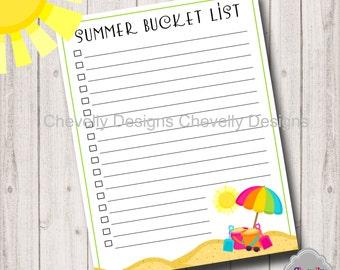 Summer Bucket List Printable - SummerPlan001-Bucket List