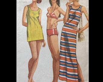 Vintage 60s 70s Bikini Swimsuit Swim Suit Tunic Top Shortie Beach Coverup Maxi Dress Sewing Pattern 9378