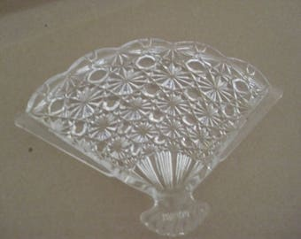 Vintage 1974 AVON PRESSCUT Clear Glass Fan Shaped Dish