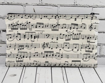 Music Notes Pencil Case, Music Teacher Gift, Fabric Zipper Pouch, Music Make Up Bag