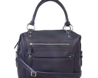 Navy Blue Leather Handbag, Leather Purse, Zip Pockets