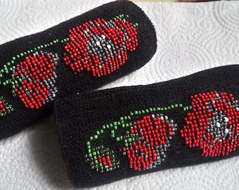 Handmade black wool flower wrist warmers with glass beads