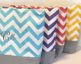 Set of 10 Chevron Beach Bags . DESIGN Your OWN . Chevron Tote bags . standard size . bridesmaid gifts MONOGRAMMING Available