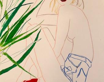 Dracaena Plant and Denim Shorts